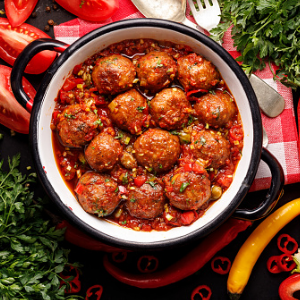 Beef meat balls in tomato sauce with cauliflower rice